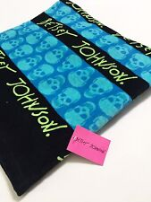 Nwt Betsey Johnson Beach Towel 35x66 Blue Skelator Sugar Skull Day of the Dead