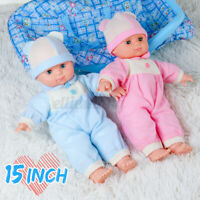 15'' Reborn Girl Baby Dolls Handmade Full Body Lifelike Doll Toy Vinyl +