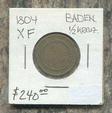 BADEN - FANTASTIC HISTORICAL SCARCE KARL FRIEDRICH 1/2 KREUZER, 1804, KM# 133