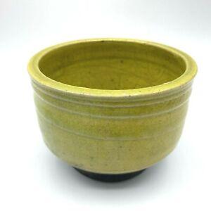 Raku Studio Art Pottery Charteuse Lime Green Bowl Dish Signed