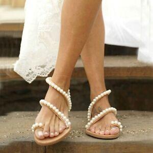 New Women Boho Pearl Sandals Ladies Summer Holiday Beach Rhinestone Flat Shoes