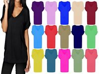 Women Ladies Baggy Loose fit Batwing Sleeve Turn up V Neck T-shirt Top UK 8-26