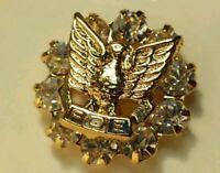 VINTAGE Gold/Crystal  FOE Lapel /Tie Pin FRATERNAL ORDER OF EAGLES    P111