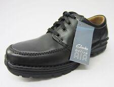 uomo CLARKS scarpe casual con stringhe, pelle, Nero, sidemouth vie