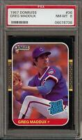 1987 Donruss #36 Greg Maddux Rated Rookie RC Chicago Cubs PSA 8 NM-MT