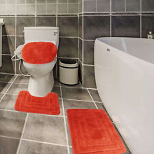3 PCS Bath Rug Set Solid Color Carved Extra Soft Touch & Absorbent # GL01