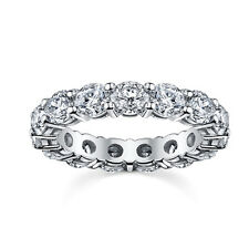 NEW 5.0CT ROUND CUT MOISSANITE FULL ETERNITY RING 9K WHITE GOLD ANNIVERSARY BAND
