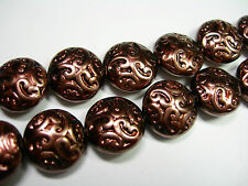 10 Lovely Czech Glass Button Beads 14mm Chocolate Brown Pearl
