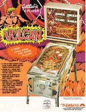 VULCAN Original PINBALL Flyer GOTTLIEB 4-Player 1977 Promo Brochure Ad Slick