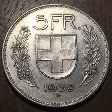 PIECE DE 5 FRANCS SUISSE 1939 B EN ARGENT (348) CONFOEDERATIO HELVETICA