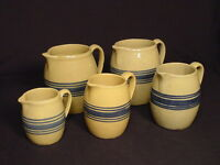 RARE GRADUATED SET OF 5 BLUE BANDED HULL PITCHERS YELLOW WARE