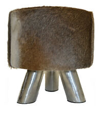 Sitting Stool Cowskin Footrest Unique Coat Stools with Metall-Beinen Stool