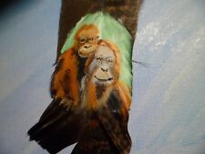 ORANGUTAN & BABY-Hand painted rare turkey feather, by artist W. W. Hoffert