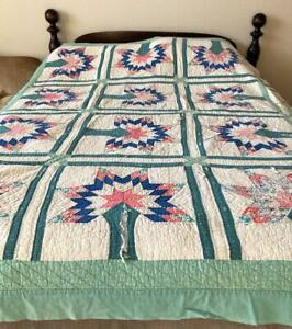 Vintage  Tree of Life Quilt 16 Blocks Cotton Batting Lt Weight Hand quilted