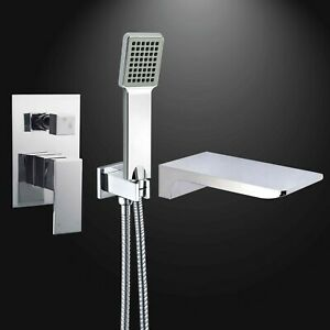 Chrome Concealed 2 Way Mixer Valve Square Shower Handset Kit Waterfall Bath Tap
