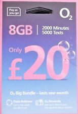 OFFICIAL O2 SIM CARD PAY AS YOU GO STANDARD MICRO & NANO 8GB 2000 MINS 5000 TEXT