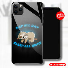 Funny Sloth Sleep Nap All Day Glass Phone Case Samsung Huawei iPhone Xiaomi Gift