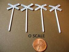 SET OF 4 O SCALE CUSTOM-MADE STEAM & TRANSITION ERA RAILROAD CROSSBUCKS, NEW