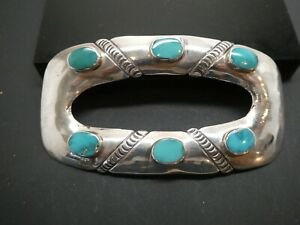 Old Pawn Vintage Blue Turquoise Gemstone Silver Hair Barrette Pony Tail Holder