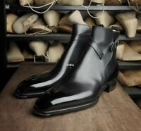 New Handmade Men's Black Jodhpur leather shoes, Men Stylish Ankle High shoes.