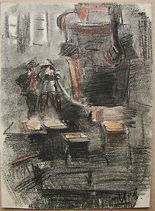 Russian Ukrainian Soviet Painting Soc realism manufactory workers steel 1950s