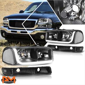 For 99-07 GMC Sierra/Yukon LED DRL Headlight W/Bumper Signal Lamps Black Clear