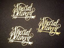 5 Special Delivery old gold card cut outs from metal die