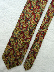 VINTAGE RED GOLD BLUE PAISLEY 3.75 inch SILK necktie TIE by AUSTIN REED