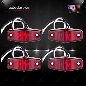 (4) Red Surface Mount Mini Side Fender Marker Clearance Light Long Trailer Truck