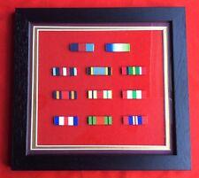 Framed WW 11 Medal Ribbons WW 11 39-45 Star Africa Star Defence Medal Italy Star