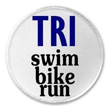 "Tri Swim Bike Run - 3"" Sew / Iron On Patch Triathlete Triathlon Athlete Gift"