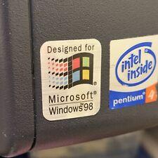 Windows 98 Designed For 386 486 Computer Case Badge FLAT Sticker Retro PC