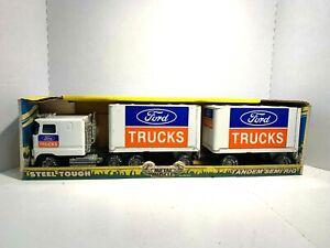 1988 Nylint 9180  'Ford Trucks' Metal Muscle Ford Tandem Semi Rig  Pressed Steel