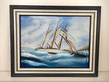 "Vintage Framed Fishing Schooner Boat Oil Painting Signed Molly Loper 1993 12x16"""