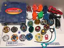 Mixed Beyblade Lot Storage Metal Fusion Launcher Ripper 10+ Beyblades Hasbro