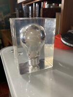 Embedded Acrylic/Lucite Light bulb Sculptures Pierre Giraudon Pop Art  MCM
