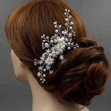 Bridal Hair Comb Pearl Crystal Headpiece Hair Clip Wedding Accessories 00421 S
