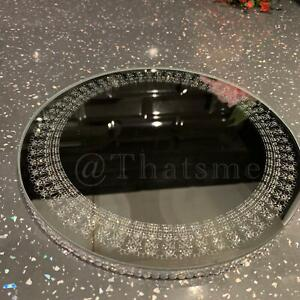 20 cm Round Mirror Silver Glitter Candle Plate Diamante Lace Candle Holder Plate