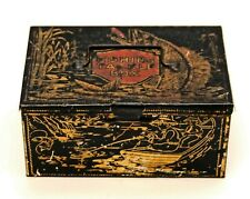 ANTIQUE TIN FISHING TACKLE BOX WITH GRAPHICS & CONTENTS HOOKS LURES PFLUEGER TIN