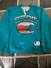 Supreme Champion Chrome Crewneck Sweater Dark Teal Size M SS19 NWT Free Sticker