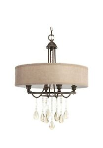 NEW PROGRESS LIGHTING Flourish Collection 20.25 in. 4-Light Cognac Bronze Chande