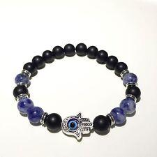 Handmade Hamsa Armband Fatimas Hand Evils Eye Onyx Perlen Sodalith blau Nazar
