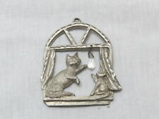 Spoontiques Pewter Cat & Kitten Hanging Crystal Holiday Ornament