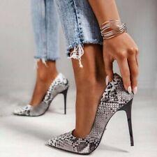Women High Stiletto Heels Pumps Pointed Toe Snakeprint Heel Club Shoes Plus Size