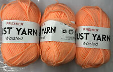 Yarn Premier Just Yarn. Lot Of 3. Color Orange.131 Yds Each. 100% Acrylic