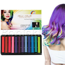 12 Color Hair Chalk Set Hair Dye Temporary Washable Disposable DIY Party Cosplay