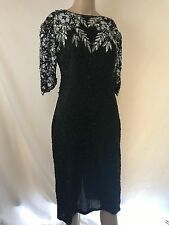 FAB 80s GLaM Vintage BLACK SiLK SiLVER SEQUiN BEADED SHEER CUT-OUT DRESS GOWN M
