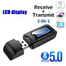 Usb Bluetooth 5.0 Audio Transmitter Receiver Lcd Display 3.5mm Pc Car Headset UK