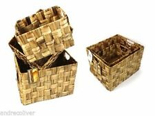 Set of 4 Rectangle Hyacinth Basket Storage Vintage Rustic Decorative Shabby