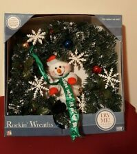 Gemmy Qvc Rockin' Wreaths Animated Indoor Christmas Swaying Snowman ✞